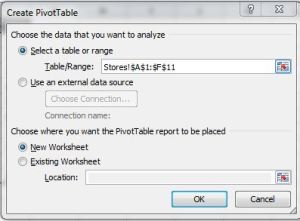 Pivot Table Creation Dialog